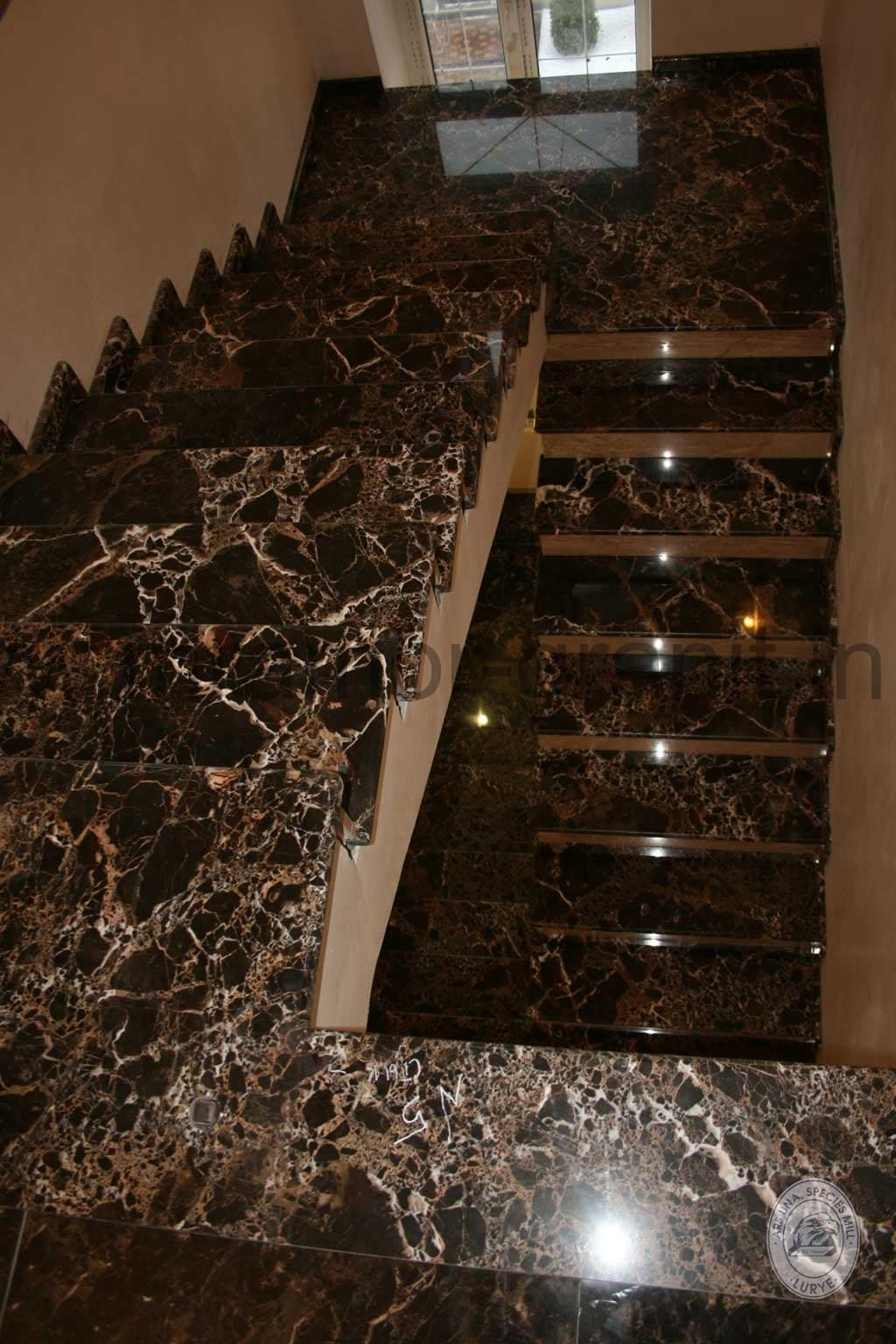 Gold Emperador Stairs