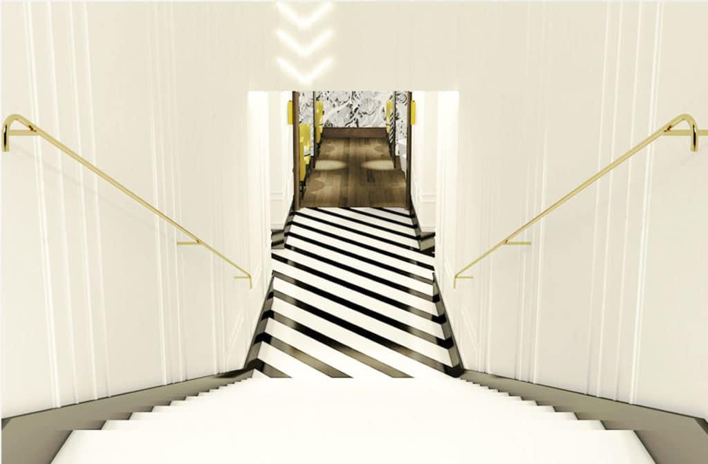 escalier marbre blanc de Chine Restaurant Le Masha à Paris - Marbre Import