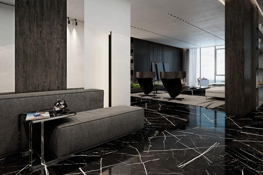 Sol en marbre noir marquina premium- Marbre Import